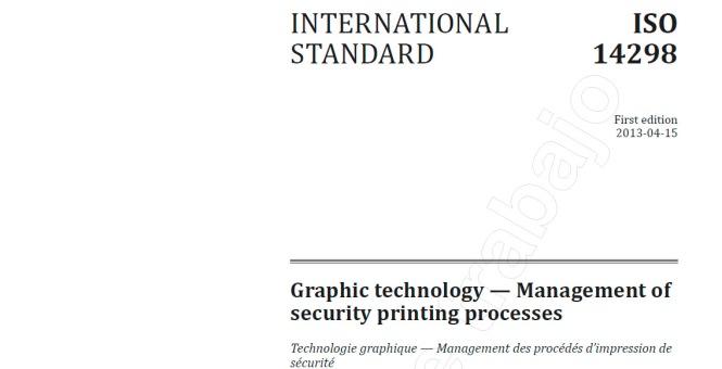 iso 14298, management of security printing processes, gestión de los procesos de impresión de seguridad, departamento artes gráficas salesianos atocha