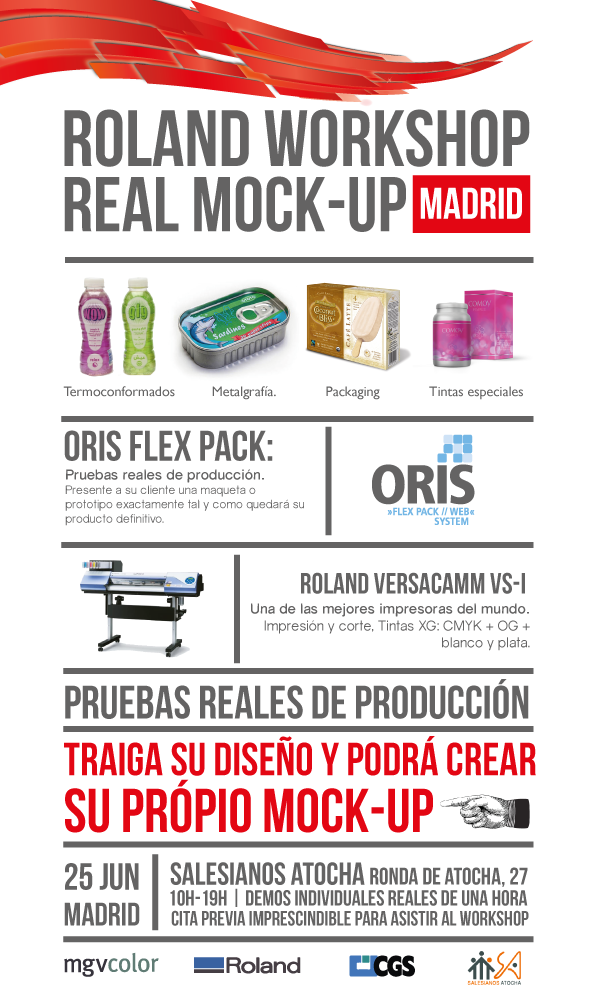 Evento Roland WorkShop Real Mock-Up, Salesianos Atocha, Madrid, Oris flex pack, roland Versacamm, cgs, mgvcolor