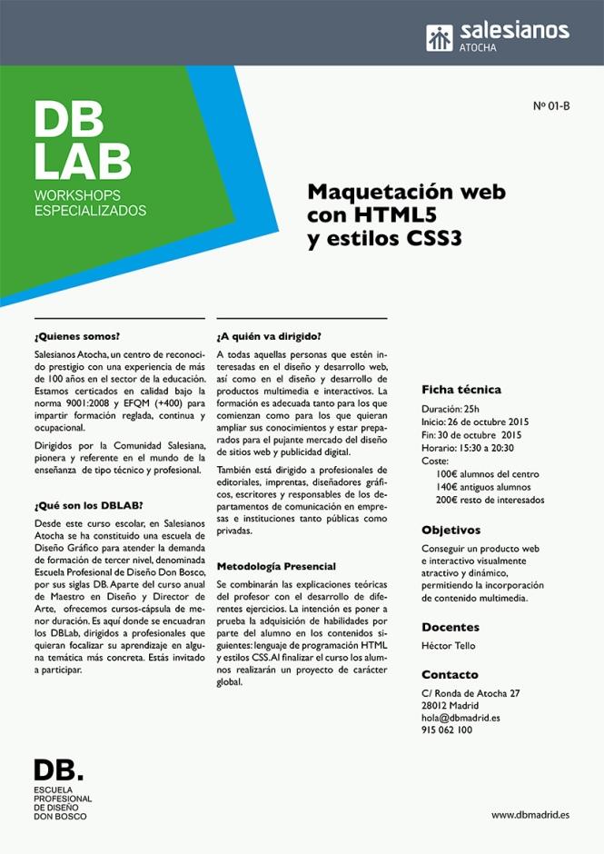 DB_LAB, workshops especialidos en diseño, maquetación web, html5, estilos ccs3, dirección de arte, artes gráficas, DB_MAESTRO, departamento de artes gráficas, salesianos atocha, madrid