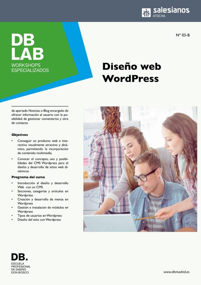 db_lab, workshop, diseño web wordpress, Curso propio; departamento artes gráficas, salesianos atocha, Madrid, formación profesional, diseño, web, wordpress