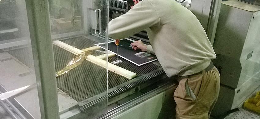 preimpresión, artes gráficas salesianos atocha, visita a NEO, preparación stamping