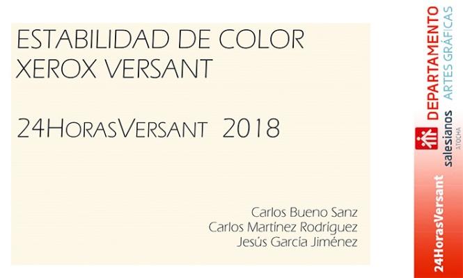 xerox versant 24 horas, departamento de artes gráficas salesianos atocha, 2018 ,Madrid, constancia de color