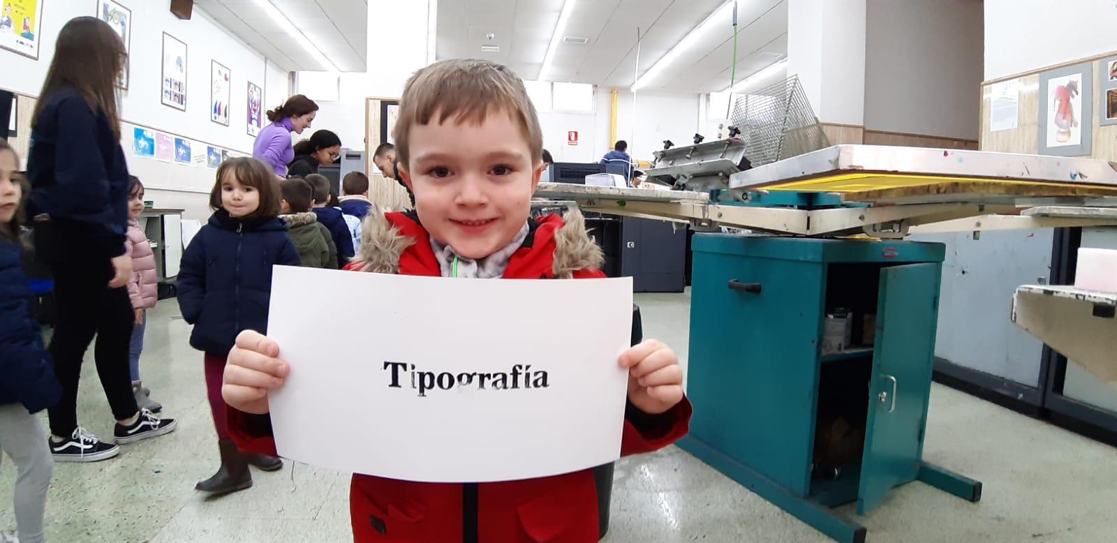 Taller de impresión; salesianos atocha, impresión tipográfica; visita infantil